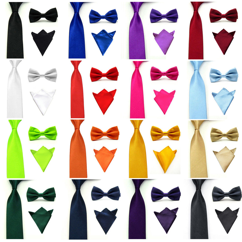 Men Satin Solid Necktie Bowtie Pocket Square Set Bow Tie Handkerchief Tie Lot BWSET0501