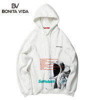 Bonita Vida Japanese Streetwear Astronaut Printing Hoodies Men 2019 Autumn Winter Hip Hop Harajuku Cotton Hooded Sweatshirt