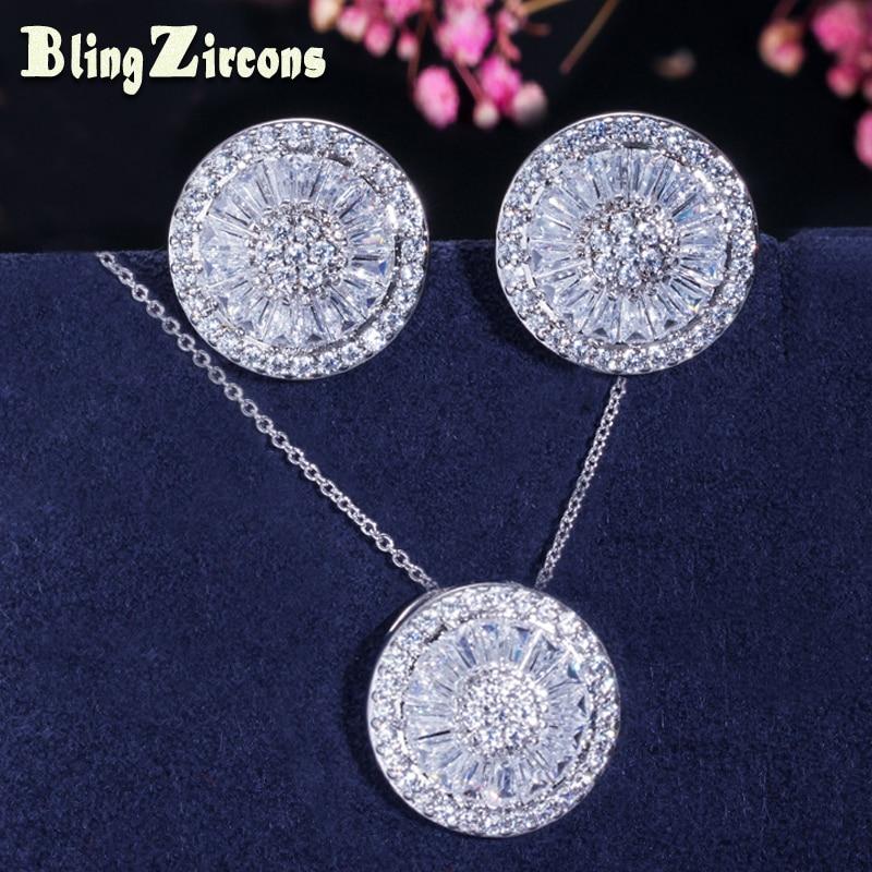 BeaQueen módní mikro dlážděné kubický zirkon křišťál kolo náušnice náhrdelník stříbrná barva šperky sady pro ženy JS038