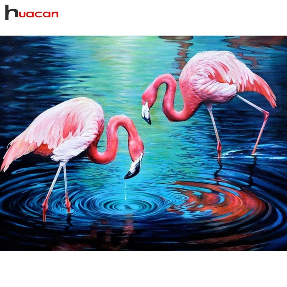 HUACAN 5D DIY Diamond Painting Flamingo Diamond Embroidery Animals Full Square/Round Drill Mosaic Painting Birds Decoration HomeHUACAN 5D DIY Diamond Painting Flamingo Diamond Embroidery Animals Full Square/Round Drill Mosaic Painting Birds Decoration Home