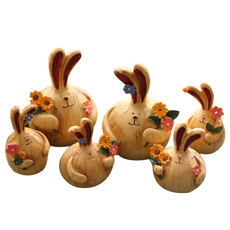 Home Decor mini resin rabbit decorations Garden Ornament Miniature Figurine living room bedroom TV cabinet home crafts ornaments in Figurines Miniatures from Home Garden