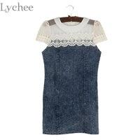 Lychee Seksi Yaz Kadın Elbise Denim Dantel Patchwork Kısa Kollu Bodycon Slim Mini Elbise Parti Elbise