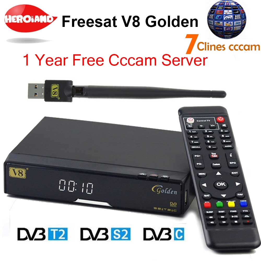 V8 Golden DVB-S2/ DVB-T2 DVB-C Receptor satellite receiver Decoder with 1 year Europe cccam server 7 Clines USB WIFI set top box wholesale freesat v7 hd dvb s2 receptor satellite decoder v8 usb wifi hd 1080p support biss key powervu satellite receiver