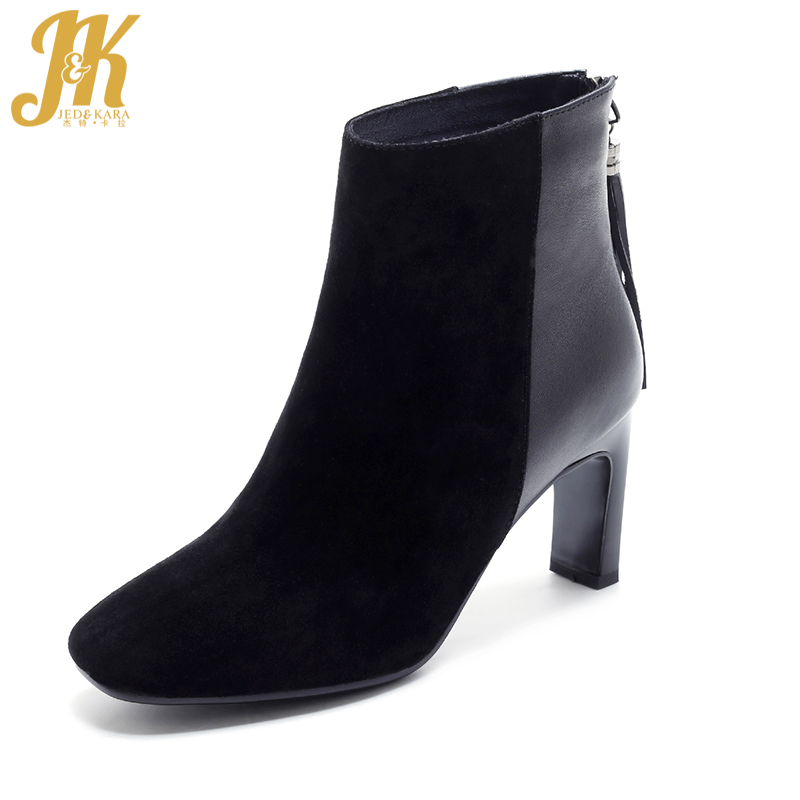 J&K 2018 Brand Genuine Leather Ankle Boots Women Fashion Fringe Square toe Female Boot Strange High Heels Shoes Woman Footwear fashion square toe lace up genuine leather solid nude women ankle boots thick heel brand women shoes causal motorcycles boot l74