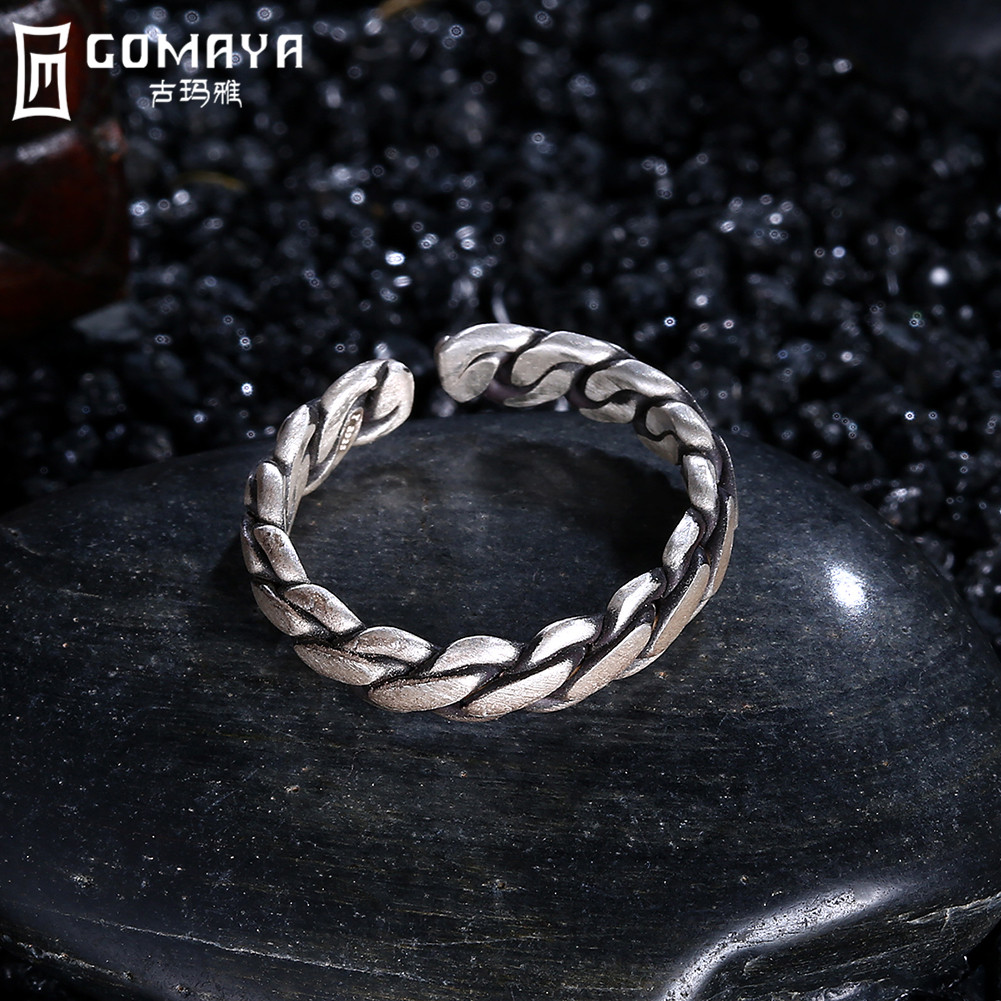 GOMAYA 925 Sterling Silver Rings Vintage Style Wire Cable Argolas Fine Jewelry Punk Ring For Party