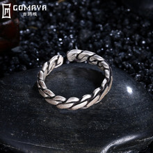 GOMAYA 925 Sterling Silver Rings Vintage Style Wire Cable Argolas Fine Jewelry Punk  Ring For Party Gift Antique Classic Anillo