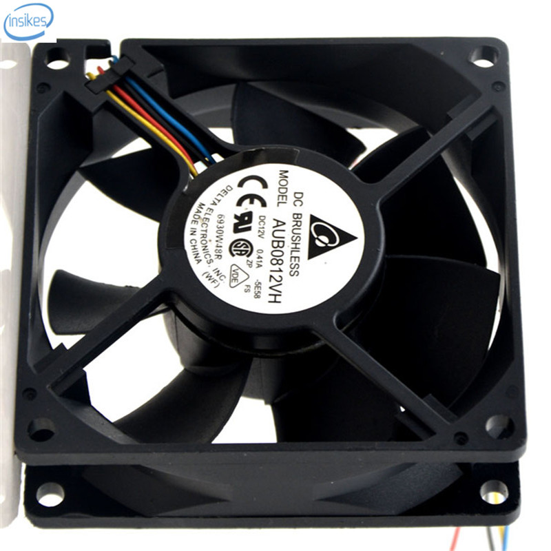 Original AUB0812VH Double Ball Bearing Cooling Axial Fan DC 12V 0.41A 8025 80*80*25mm 4 Wires 4000RPM