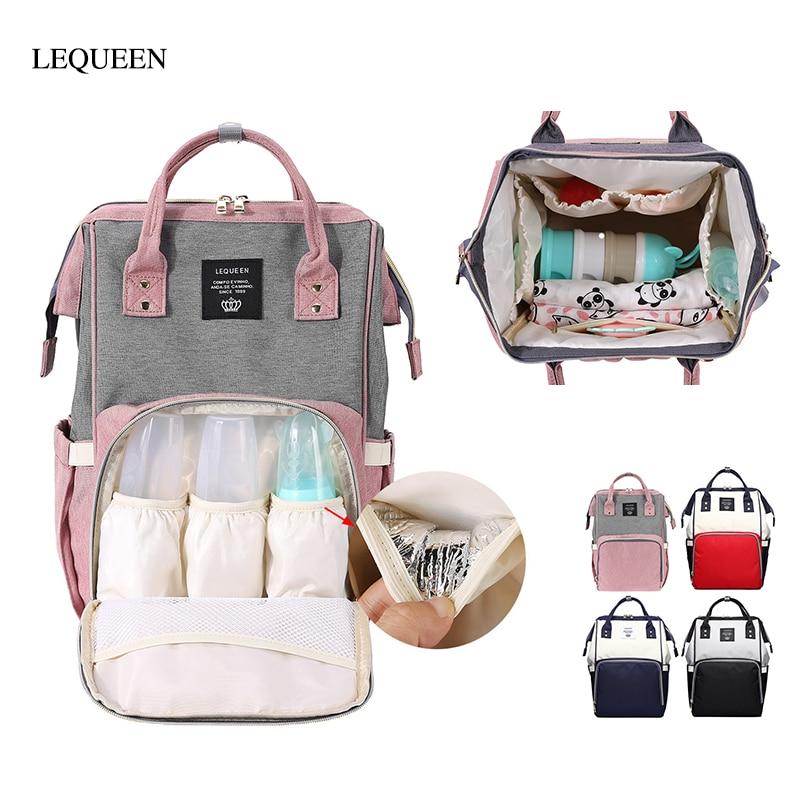 LEQUEEN Mummy Bag Multifunctional Travel Backpack Nursing Handbag Large Capacity Splicing Color Mummy Diaper Bags Baby Care