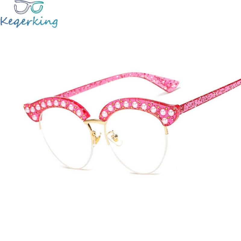 Qualifiziert Neue Persönlichkeit Damen Brillengestell Mode Katze Augen Halbrahmen Brille Perle Nieten Dekorative Flache Spiegel Brillen Ks-14 Brillenrahmen Herren-brillen