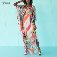 ZANZEA 2018 летнее платье пикантные с круглым вырезом Половина рукава свободные Цветочный принт пляжное длинное платье Для женщин Boho платья негабаритных Vestido