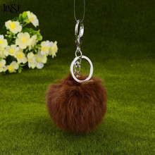 Fluffy Brown Rabbit Fur Pompom 8CM Keychain For Bags&Cars Charm Real Natural Balls Genuine Pom Poms Key Chain