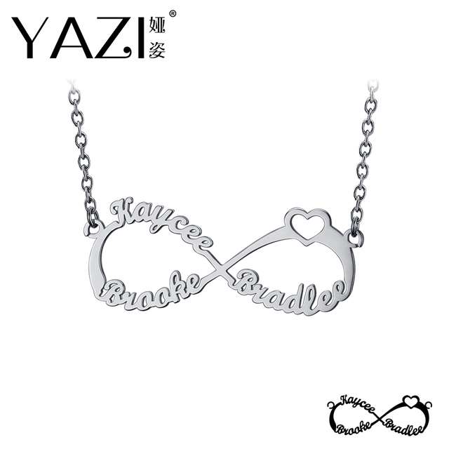 bc19a3f2571 YAZI Personalize Infinity Necklace With Three Names Family Name Necklace  Gold Color Copper Custom Pendant Memory