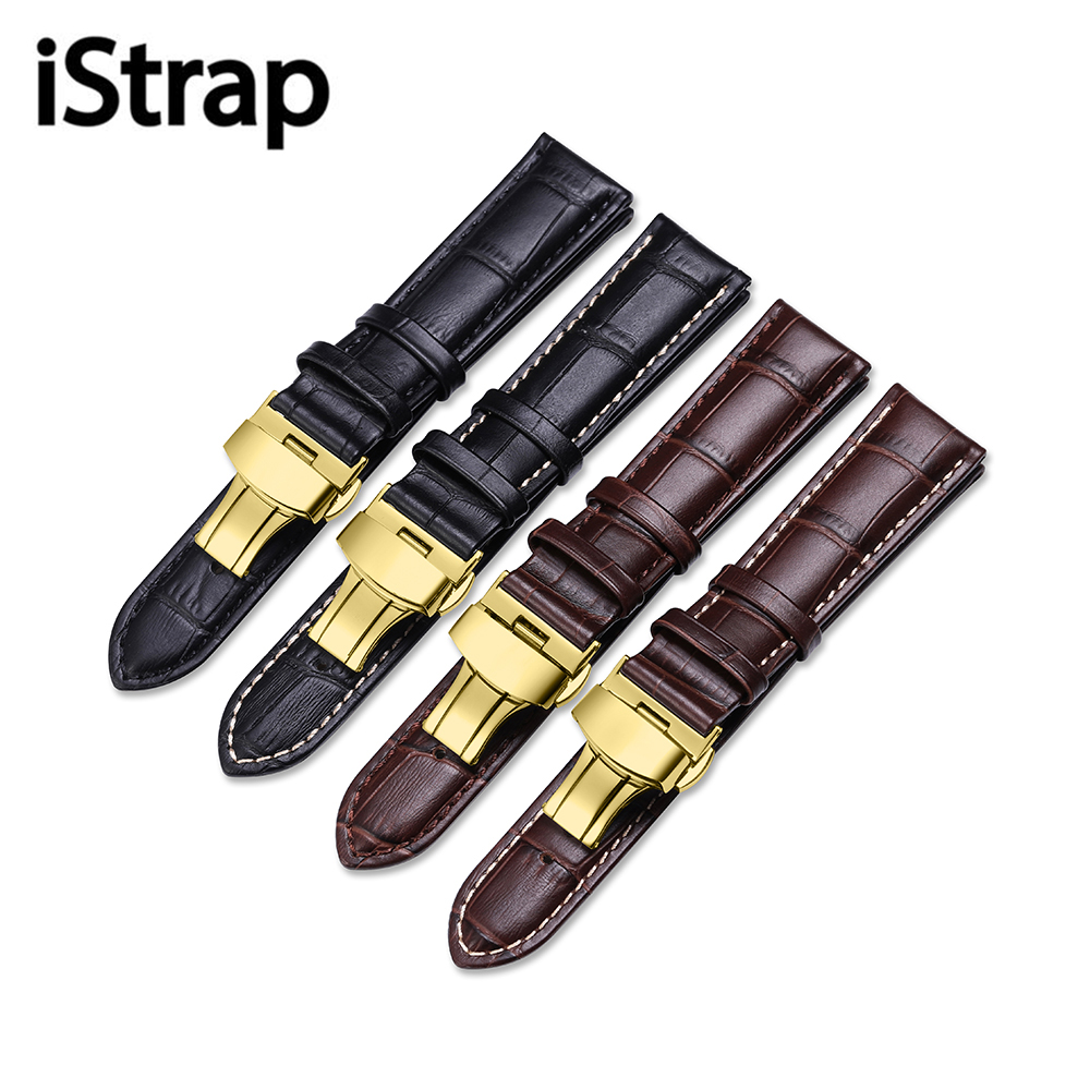 iStrap Watchband 12 13 14 15 16 18 19 20 21 22 24mm Black Brown Calf Leather Strap Watch Band Butterfly Clasp Belt For Tissot 2016 top women lady genuine leather women s watchband popular white silver pin clasp 12 14 16 18 19 20 22 24mm watch band strap