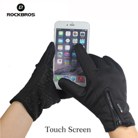 ROCKBROS Men Women Windproof Cycling Full Finger Gloves Outdoor Sports MTB Bike Bicycle Touch Screen Gloves