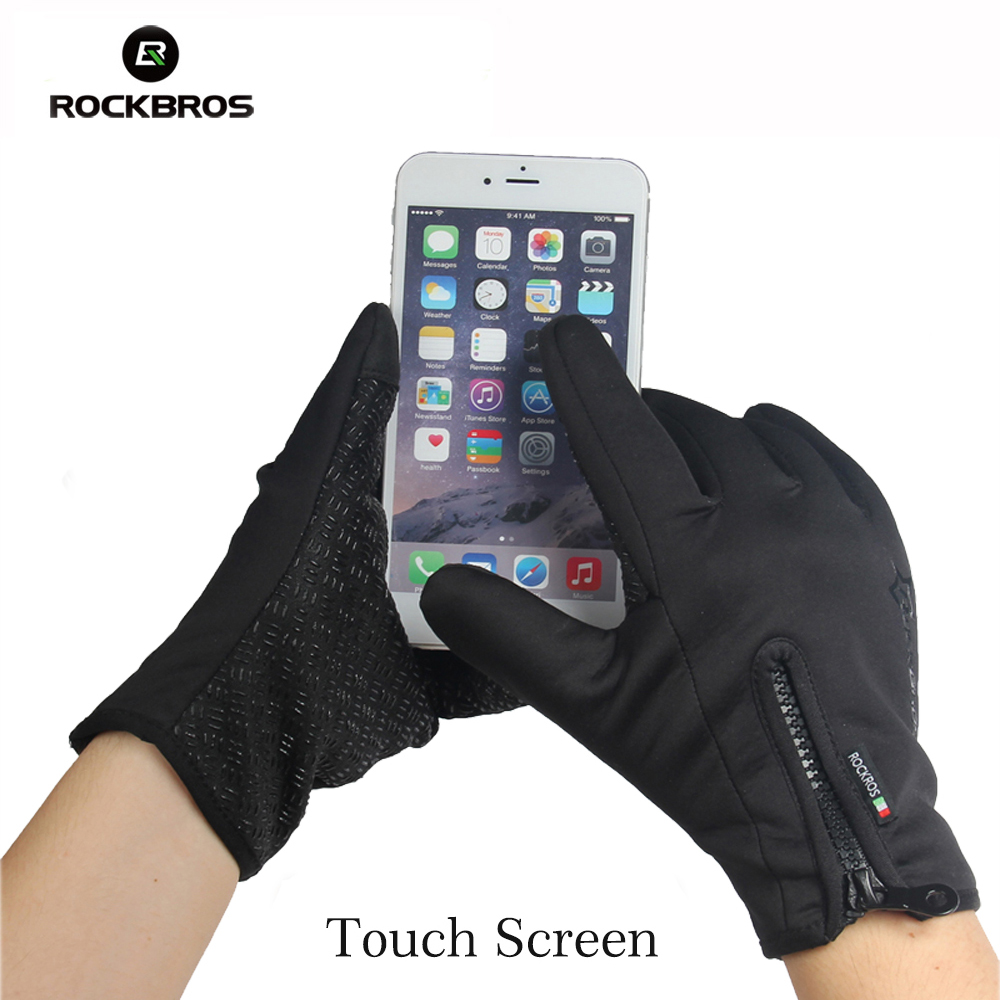 ROCKBROS Men Women Windproof Cycling Full Finger Gloves Outdoor Sports MTB Bike Bicycle Touch Screen Gloves Bicycle Gloves