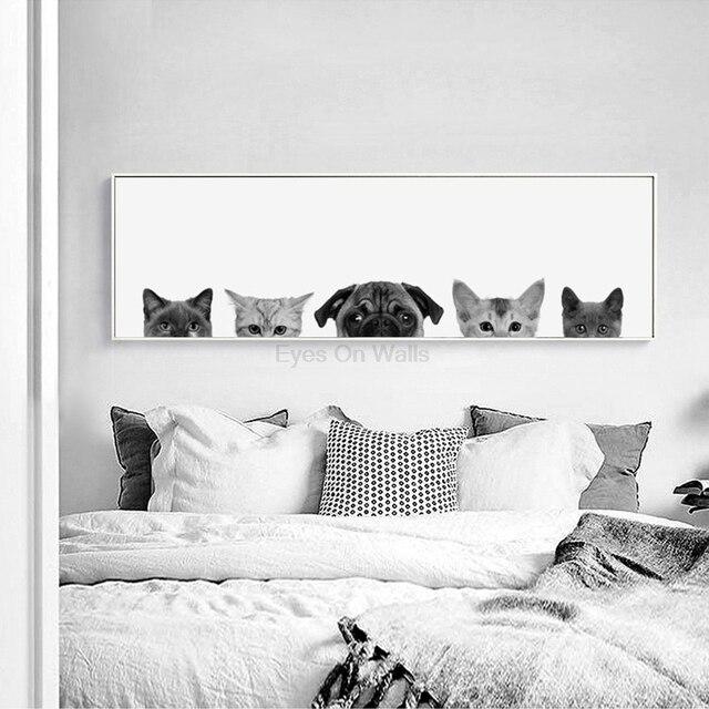 Kein Rahmen schwarz weiß Hunde Katzen Poster Nordic Kunst Tiere ...