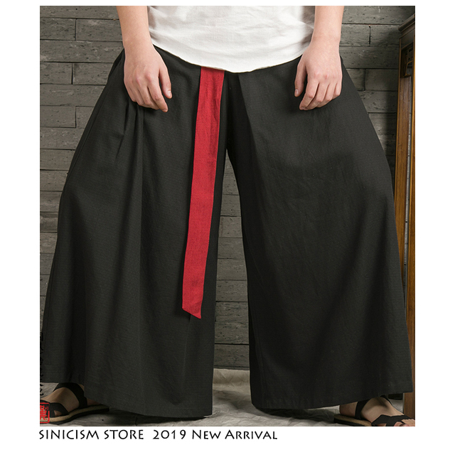 Sinicism Store 2020 Japanese Wide Leg Pants Men Streetwear Casual Cotton Linen Man Sweatpants Summer Chinese Style Male Joggers 30
