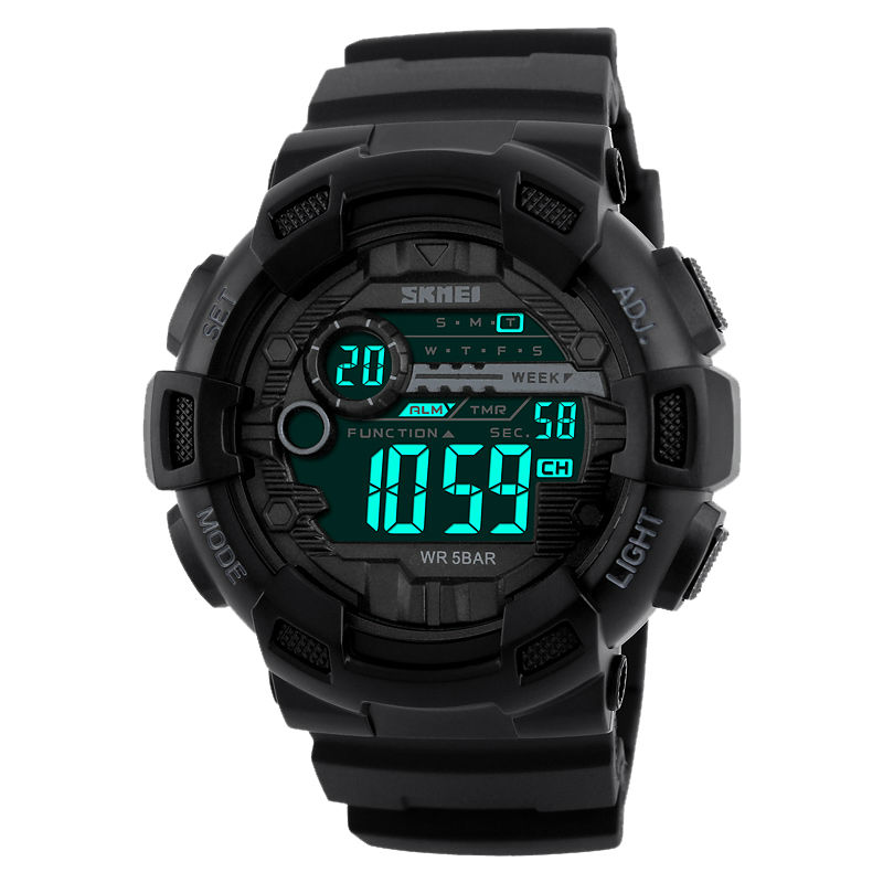 Skmei Sport Outdoor man Dual Time Watch Alarm Chronograph Waterproof Date Casual Good Quality erkek kol saati PU Band EL Light