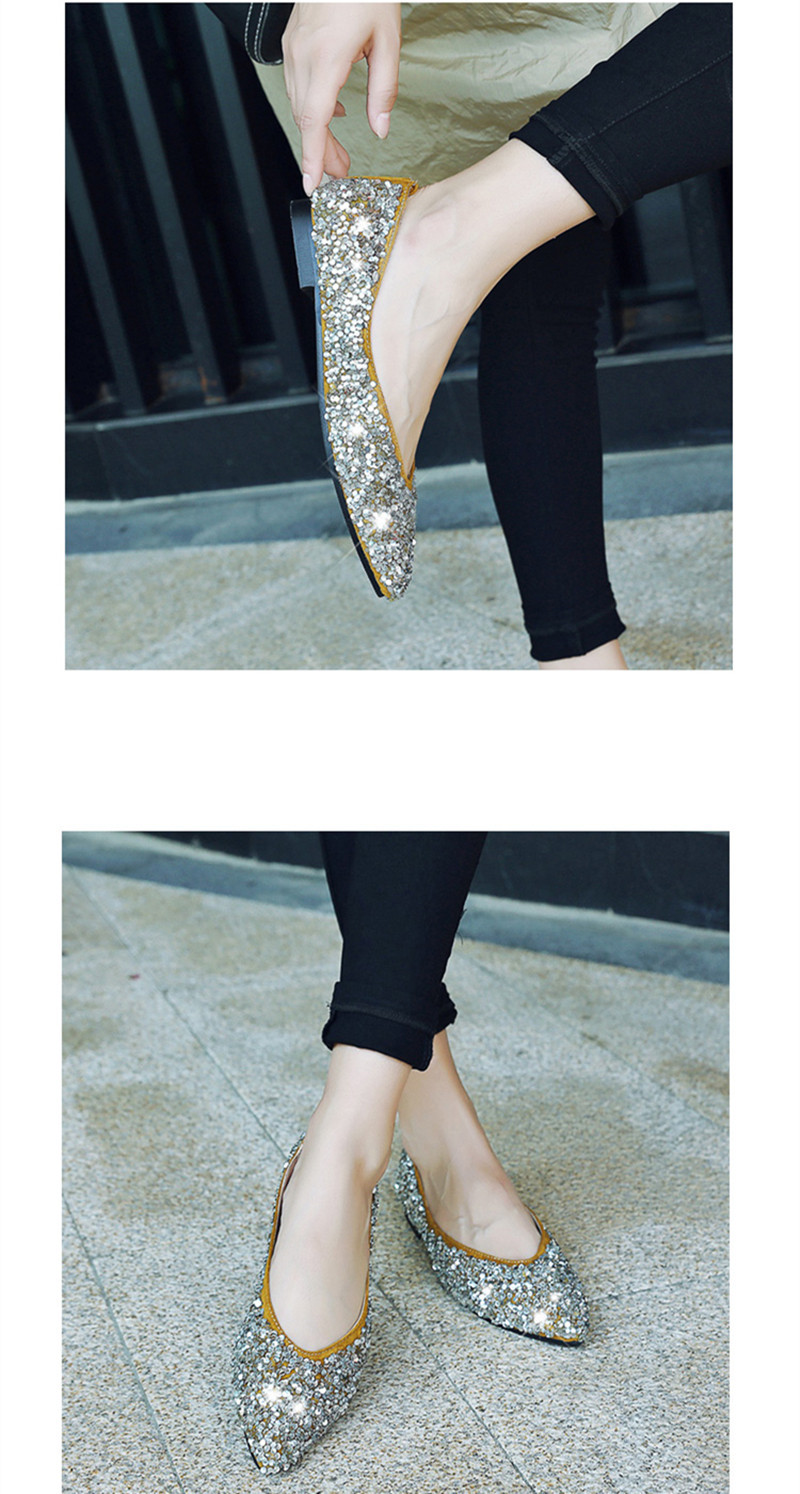 d693f8863 Bling Ballet Flats Gold Silver Wedding Shoes Flat Heel Casual Shoes Pointed  Toe Slip On Women