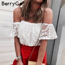 BerryGo Sexy off shoulder white lace crop top Hollow out flare mouw blouse shirt vrouwen tops Chic zomer strand camis streetwear(China)