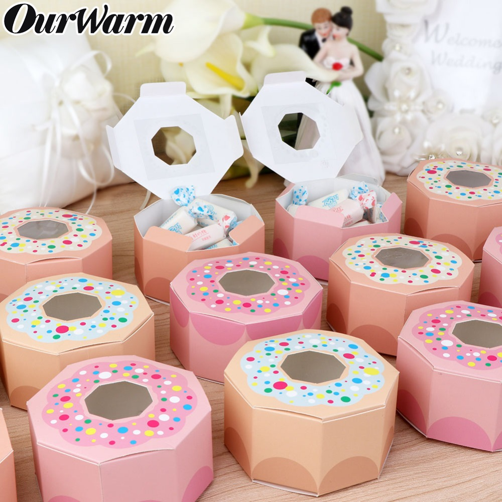 OurWarm 10Pcs Hexagon Donut Party Paper Candy Box For Baby Shower Gift Boxes Donut Theme Birthday Party Decorations Kids Favors