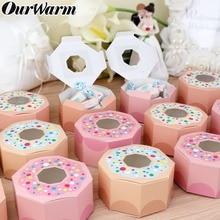 OurWarm 10Pcs 육각형 도넛 파티 종이 사탕 상자 아기 샤워 선물 상자 도넛 테마 생일 파티 장식 어린이 호의