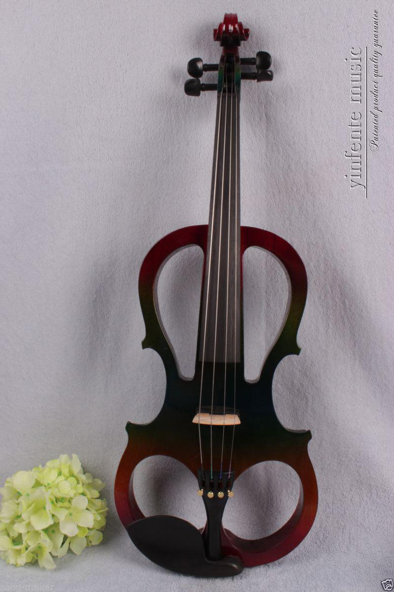 New Electric violin 4/4 Powerful Sound silent solid wood ebony parts #1349 00120 1 4 string brown 3 4 new electric upright double bass finish silent powerful sound