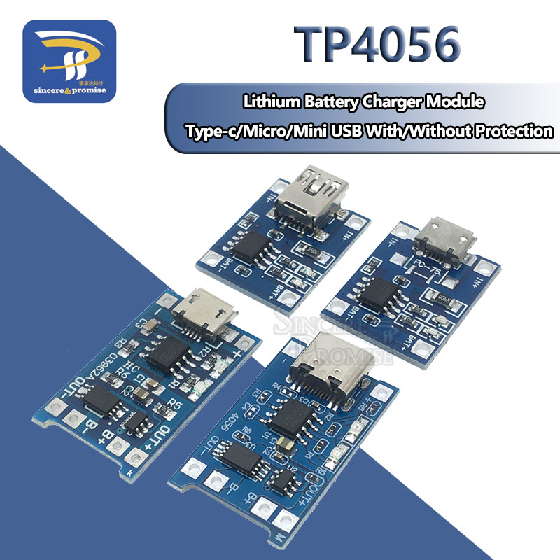 Mini Micro Type-c USB 5V 1A 18650 TP4056 Lithium Battery Charger Module Charging Board With Protection Dual Functions 1A Li-ion 1