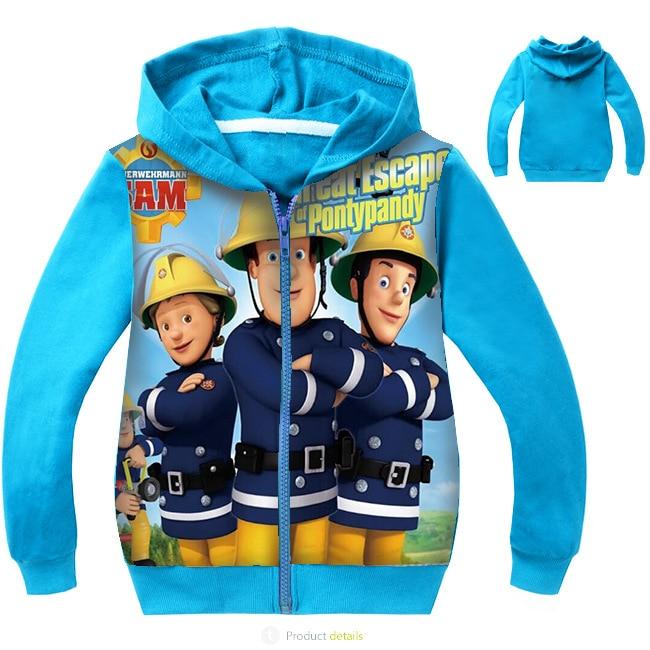 Fireman Sam Boys Sweat Jacket with Hood Blue