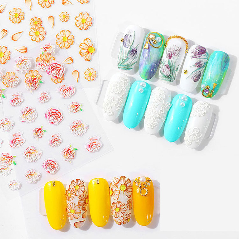 Image 3 - 5D Acrylic Engraved nail art sticker white  Various shapes  flowers Template Decals Tool DIY Nail Decoration Tools Z0134-in Stickers & Decals from Beauty & Health