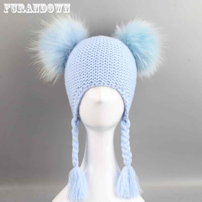 Kids Real Fur Pom Pom Beanie Hat Baby Winter Crochet Earflap Cap Girls Boys Knitted Caps Two Fur Pompom Hats For Children baby thick kids knitted hats for winter with 12cm real fox fur pom poms baby caps good quality cashmere boys girls beanie hats
