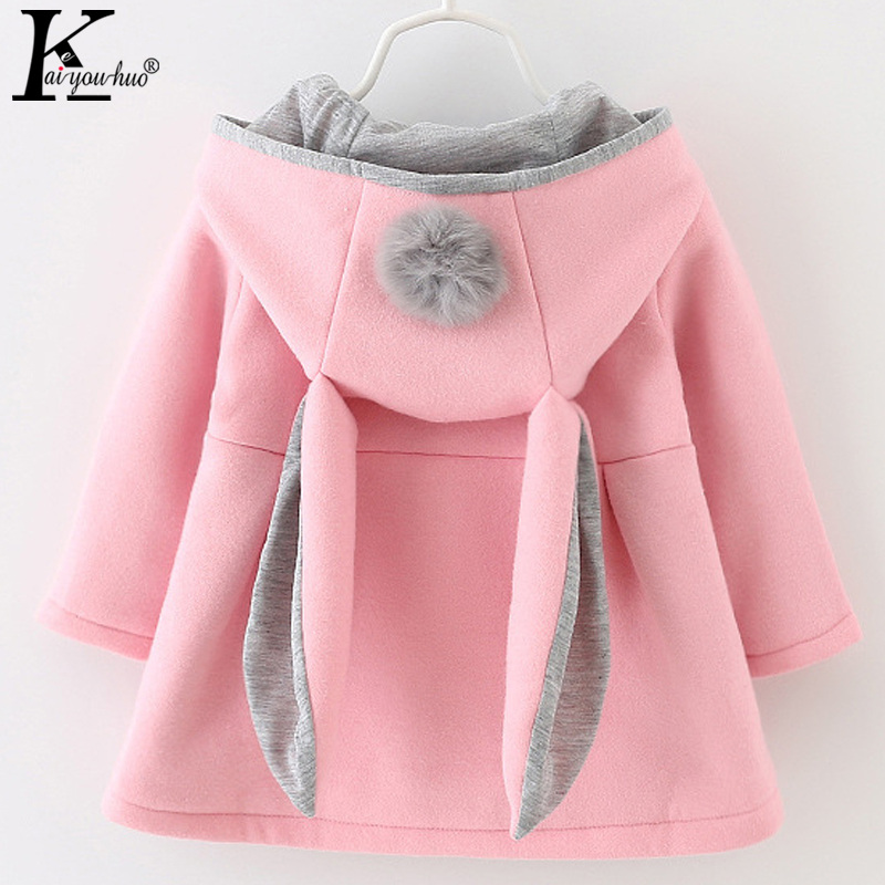 2018 Autumn Coats Jackets For Girls Clothes Hooded Jacket Cartoon Baby Girls Coats Rabbit Hat Long Sleeve Kids Winter Outerwear