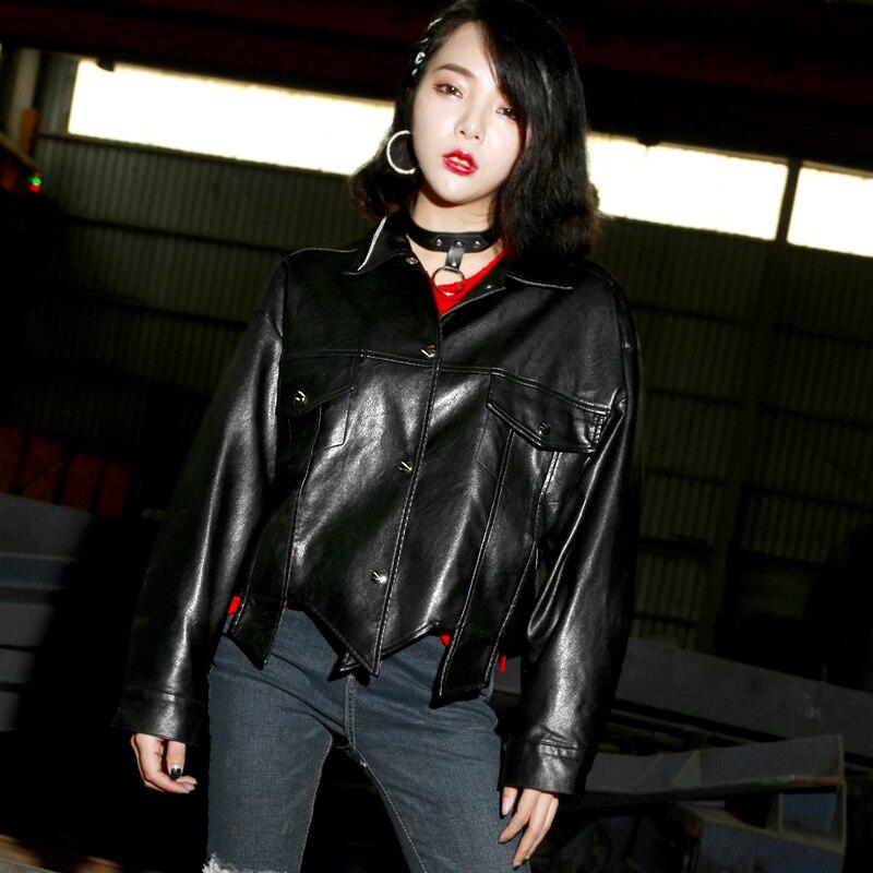 New   Leather   Jacket Women PU Motorcycle Black Irregular Loose Coat Long Sleeve Single Breasted Button Washed PU Biker Coats