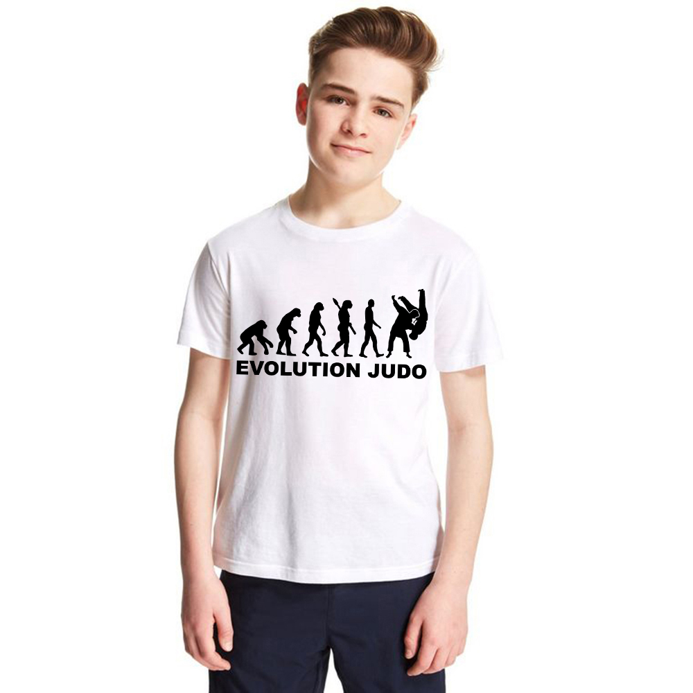 The Evolution of Judo Kids T-shirt Summer Short Sleeve T Shirt for Boys Girls Teens Fashion Tops Toddler Basic Tees Funny Print cotton bull and letters print round neck short sleeve t shirt