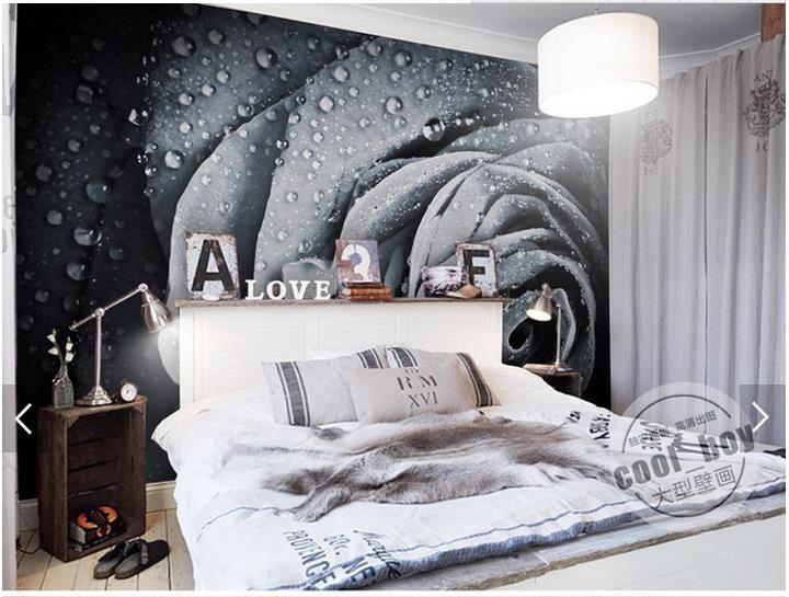 3d Fototapete Benutzerdefinierte 3d TV Tapete Wandmalereien Modernen Wasser  Rose Tau Einstellung Wand Schwarz Und Weiß