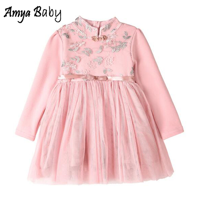 Amya Baby Little Girls Christmas Dresses Vintage Embroidery Chinese New Year Girls Dress Winter Kids Clothes Girl Party Dress
