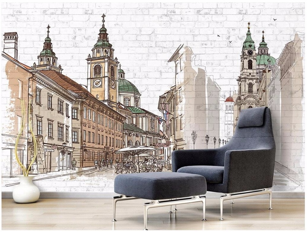 Custom mural 3d photo wallpaper Hand painted european city background wall painting 3d wall murals wallpaper for walls 3 d custom 3d photo wallpaper for walls 3 d wall murals wallpaper 3d european style white building palace living room tv wall paper