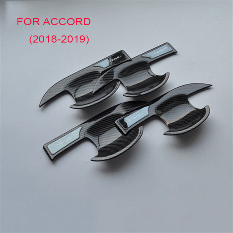 Carbon fiber Car External Outer Door Handle Catch Cover trim Cap Door Bowl Protection Sticker For <font><b>Honda</b></font> <font><b>Accord</b></font> <font><b>2018</b></font> <font><b>Accessories</b></font> image