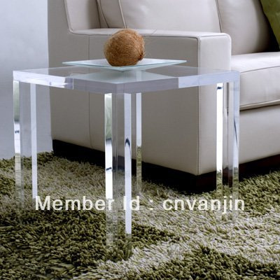 Crystal Acrylic Lucite Occasional Side Tea Table,Plexiglass End Corner Sofa Tables - 45W45D45H CM hot sale c shaped waterfall acrylic occasional side table