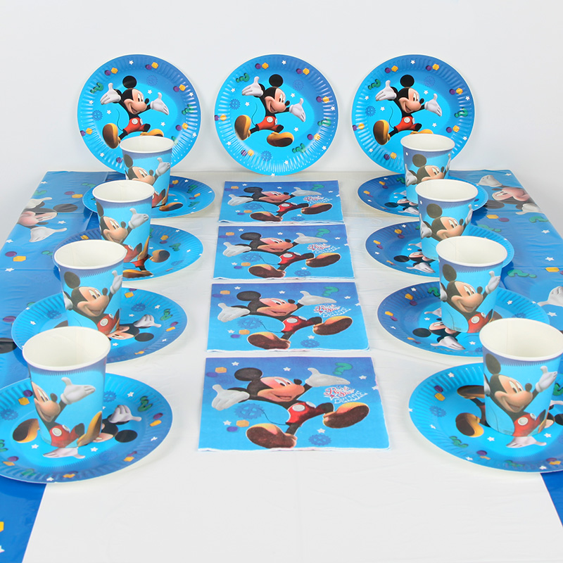 for 10 Kids Boys Birthday Party Supplies Decoration Cartoon Paper Cup Plate Napkin Table Cover set Baby Shower Party Favors 41pc