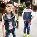2015 New Spring / Autumn Brand Baby Girls & Boys Patchwork Hooded Denim Jackets Kids Jeans Outerwear Coats Children Vest