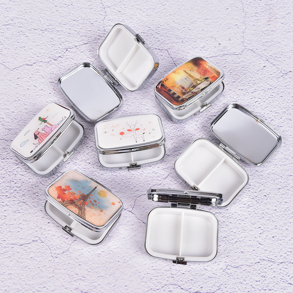 1pc Mini Folding Pill Case Container For Medicines Organizer Pill Cutter Splitters Pastilleros Pildoras Metal Pill Box