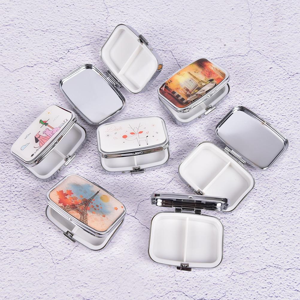 1pc Mini Folding Pill Case Container For Medicines Organizer Pill Cutter Splitters Pastilleros Pildoras Metal Pill Box