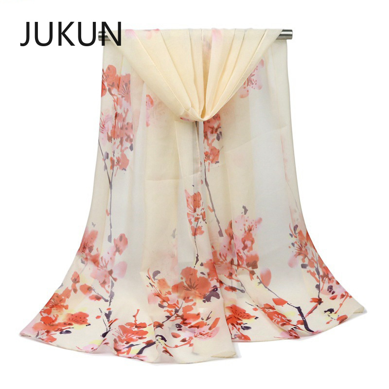Women 39 s Chiffon Scarf in Autumn and Winter New Style Plum Printed Silk Scarf Sunscreen Shawl Scarf in Women 39 s Scarves from Apparel Accessories