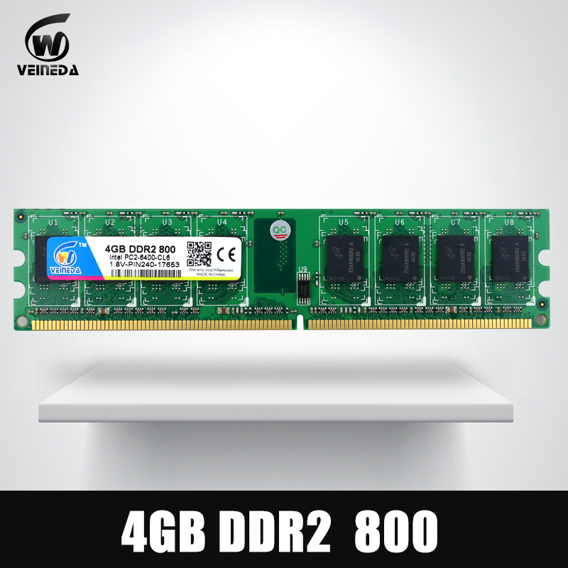 VEINEDA 2Gb 4Gb ddr2 memoria ddr 2 4Gb 800Mhz ddr 2 2g 800 667 533 PC2 - 6400 memory RAM For Intel And AMD Dimm gtfs hot 2 x aluminum heatsink shim spreader for ddr ram memory