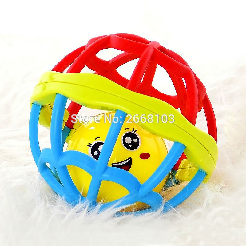 Baby Ball Little Loud Soft Plastic Teether Rolling Rattles Sound Grasping Bell Baby Infant Toddler Fun Toys Learning Educational