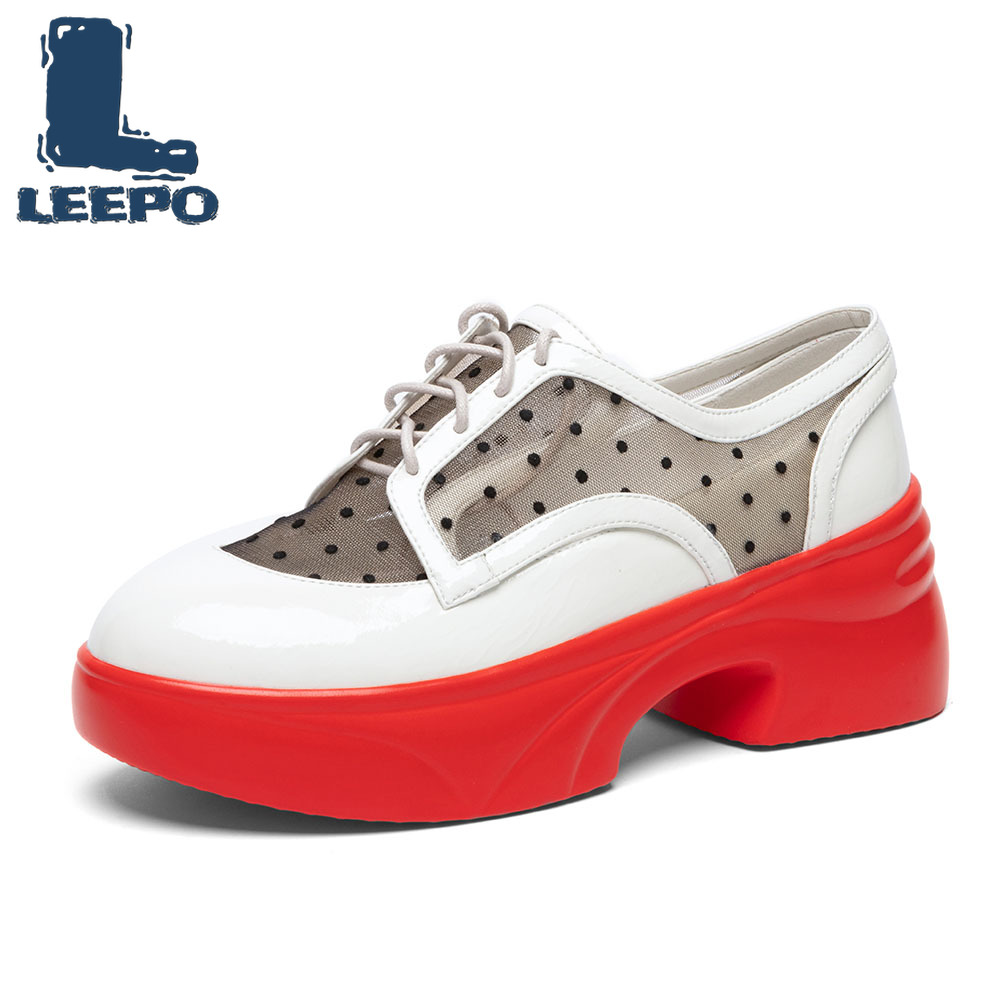 LEEPO Shoes Woman Cow Leather Sneakers on The Platform Fenty Beauty Colorful Vulcanized Shoes Casual Chunky