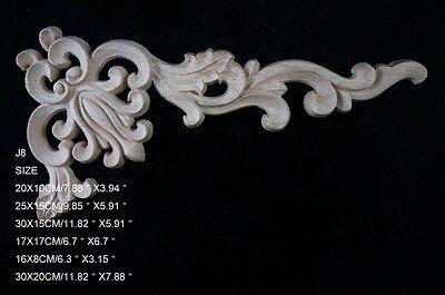 J8- 25x15cm Wood Carved Corner Onlay Applique Unpainted Frame Door Decal Working Carpenter Decoration