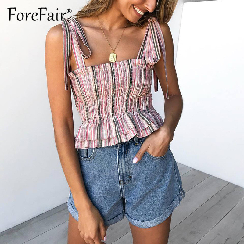 Forefair Women Striped Crop   Top   sexy camis cropped summer shirt   top   2019 ladies sleeveless ruffles stretch tube   tank     top