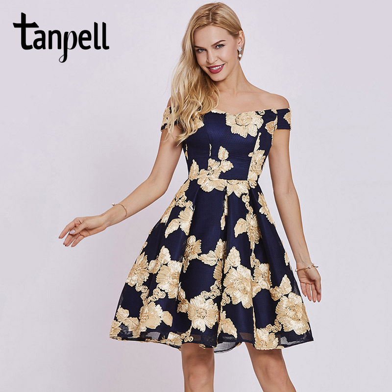 Tanpell lace homecoming dress black off the shoulder short sleeves knee length a line gown appliques cocktail homecoming dresses a-line